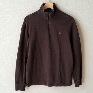 POLO RL dark brown quarter zip sweater top S